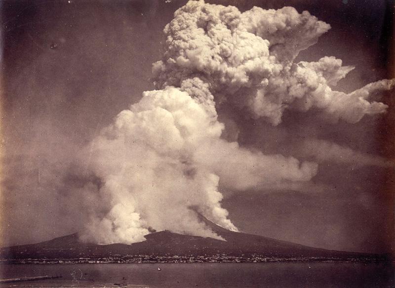 Vesuvioren erupzioa, Giorgio Sommer (1834-1914) argazkilari alemaniarrak 1872ko apirilaren 26an ateratako argazkian.