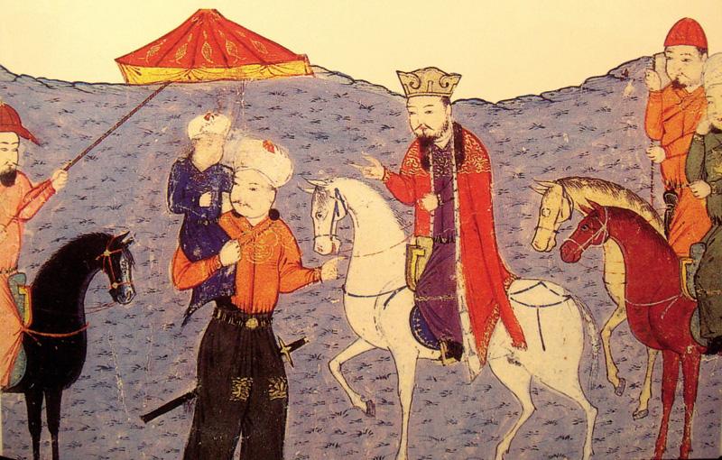 Zaldi gainean Abaqa Khan, eta parean zutik, haren seme eta oinordeko Arghun Khan. Bigarrenak  bidali zuen Europara Rabban Bar Sauma monjea zeregin diplomatikoak bete zitzan.