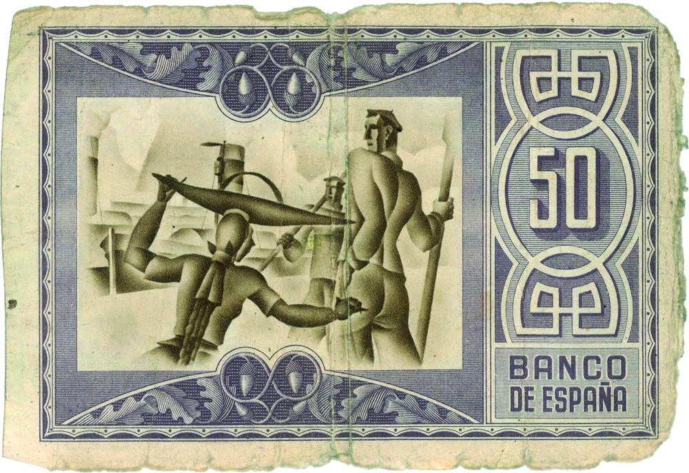 1937an Eusko Jaurlaritzaren aginduz egindako 50 pezetako billetea, atzealdean arrantzaleak portuan dituena. 25 pezetako billeteak, adibidez, labe garaiak irudikatzen zituen.
