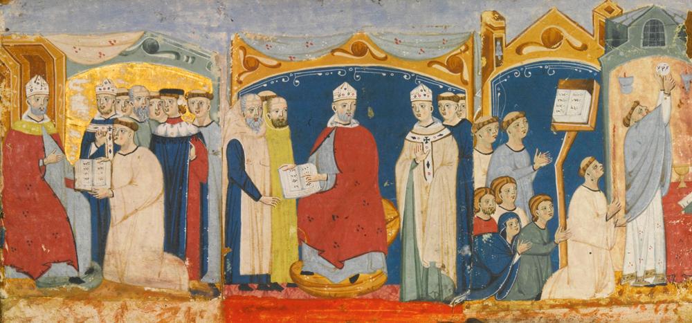 Gregorio IX.a aita santua (miniaturako lehen bi binetetan gorriz jantzita) hil zenean, haren ordezkoa bilatzeko giltzapean sartu zituzten kardinal hautesleak, historiako lehen konklabean.
