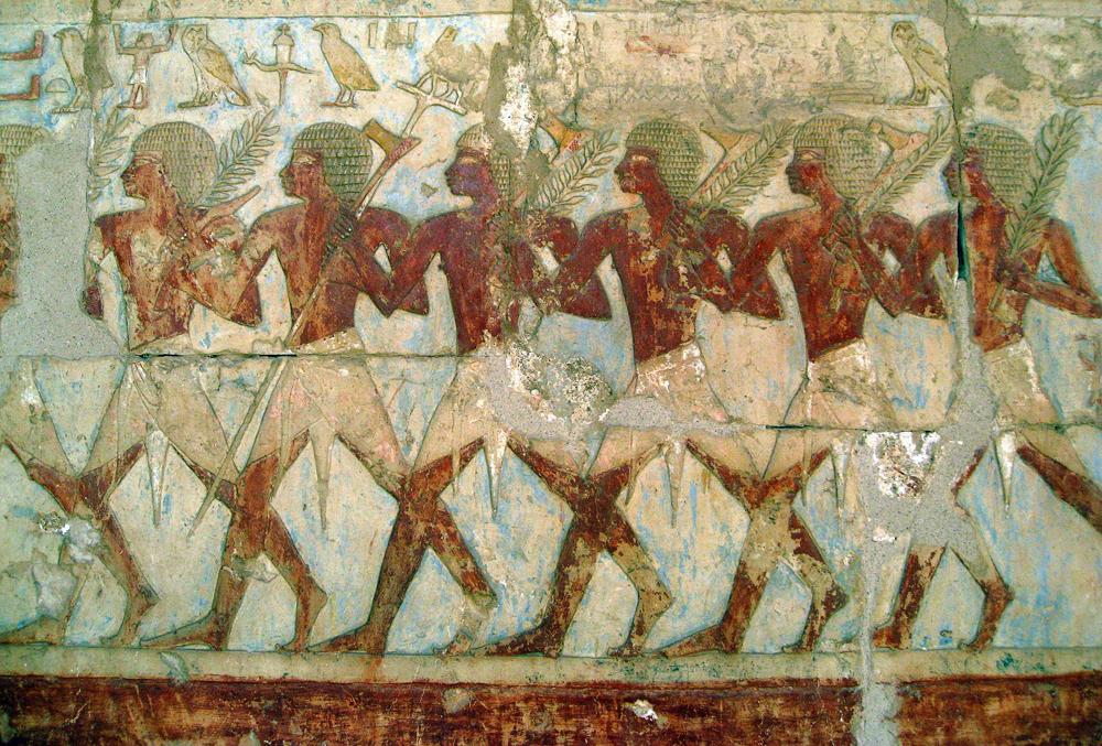 Egiptoar espedizioa Punt herrialdera iritsi zenekoa irudikatzen duen erliebea, Hatsepsut faraoiaren garaikoa, Deir el-Bahari tenpluan.