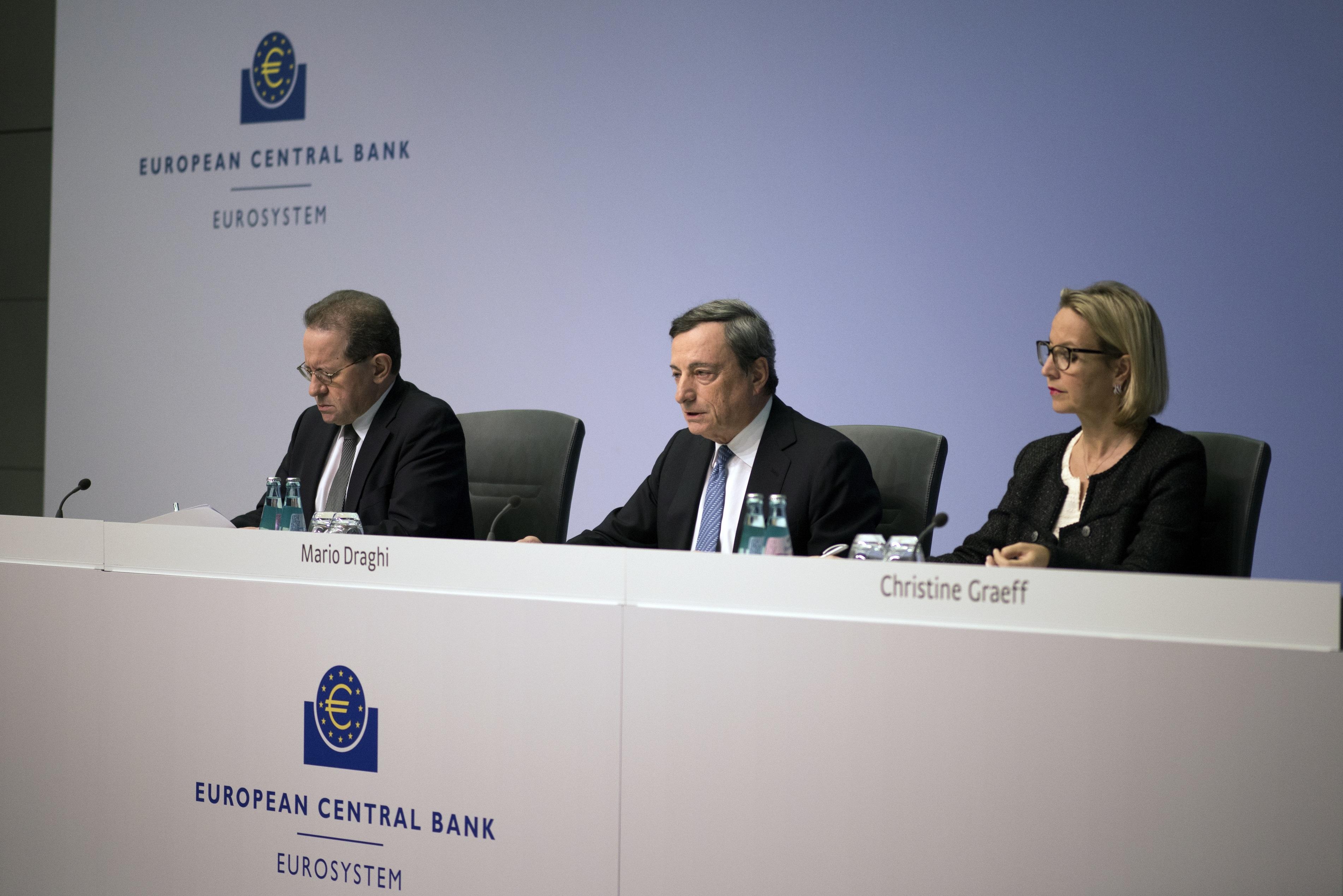 Europako Banku Zentralak banatu argazkian, Mario Draghi prentsa aurrean korporazioen zorrak erosteko planak aurkezten. Draghi da enplegu publiko eta pribatuen ate birakarietan hezitako agintarien adibide arketipikoa. Munduko Bankuaren zuzendaritzan aritua