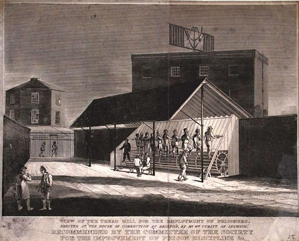 """Sir William Cubitt (1785-1861) ingeniari ingelesak asmatutako arrabola, presoak zigortzeko eta otzantzeko egina. Irudiaren oinean azaltzen da makina Cubitten asmakizuna dela eta Brixtongo espetxean abiarazi zutela. """"Kartzelako diziplina hobetzeko gomendat"""