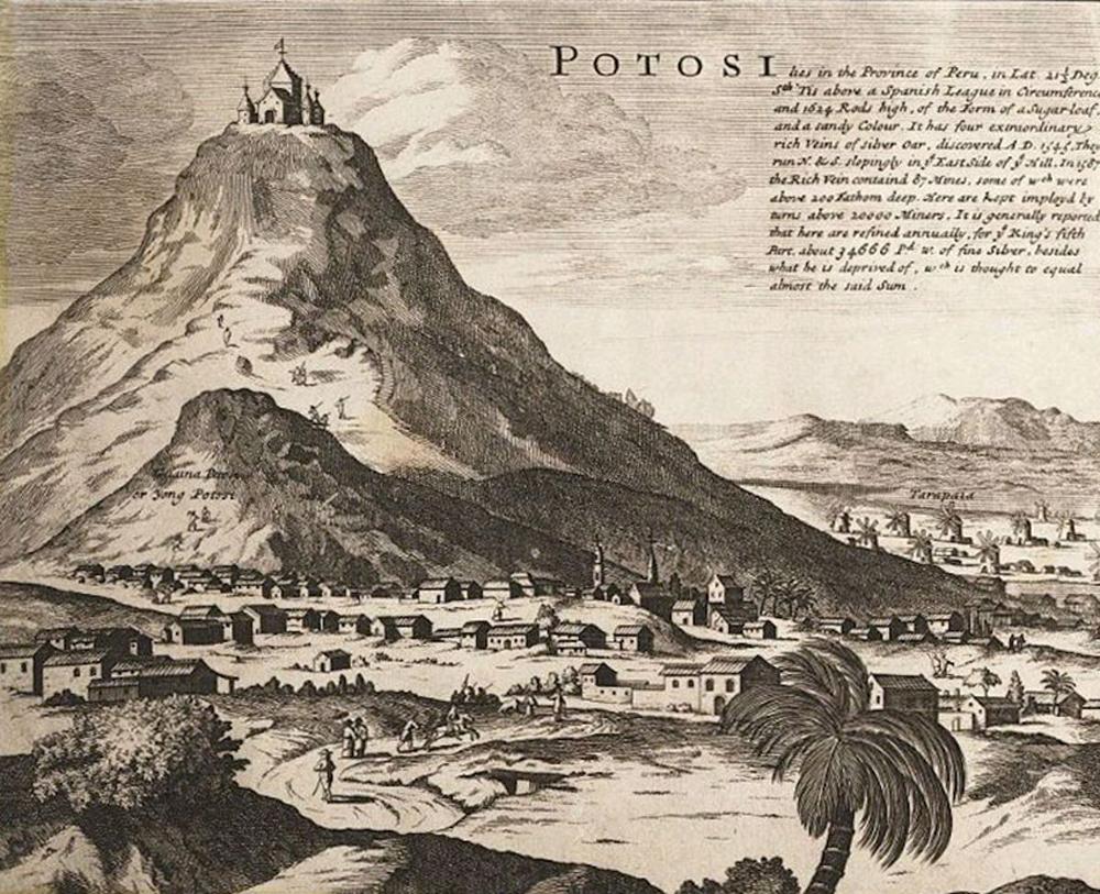 Potosi herria, Cerro Rico mendiaren magalean. Grabatua XVII. mendekoa da, bikuinen eta euskaldunen arteko gerraren garai bertsukoak. (Irudia: Bernard Lens)