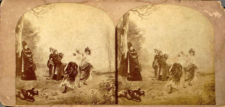 Emile Bayard-en margoetan oinarritutako estereografiak, gerritik gora biluzik  dauden emakumeak dueluan irudikatzen dituztenak. (Irudia: R.K. Bonine)