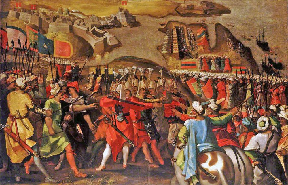 Otomandarrak Birgu (Malta) setiatzen, 1565eko uztailaren 6an. Erdian, janizariak, gorriz jantzita eta bork izeneko txanoa buruan.