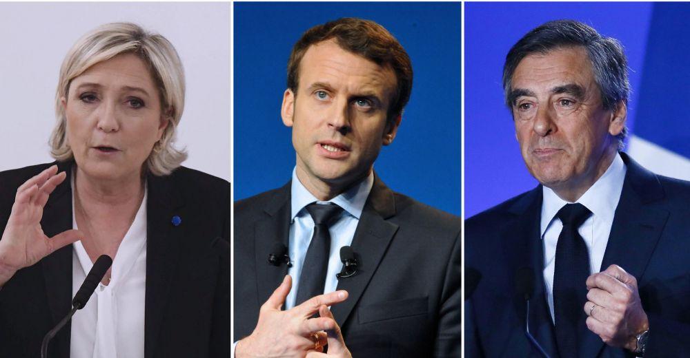 Inkesten arabera, bigarren itzulira pasaz gero, Macron izanen da presidente. Frantziako inoizko hauteskunde berezienak dira horregatik. Irudian, ezkerretik eskuinera, Marine Le Pen, Emmanuel Macron eta Fraçois Fillon.