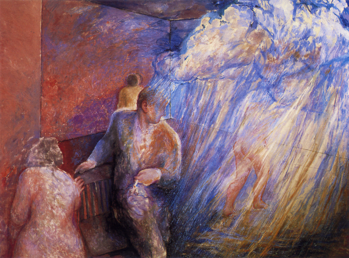 Urakan suntsitzailearen iragarpena (1984). Olioa oihalean, 170 x 230 cm.