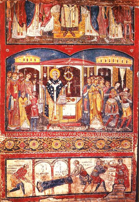 """Letrango San Klemente Basilikako freskoa, behean eskuinaldean """"Fili dele pute, traite"""" hitzak idatzita dituena. Orain arte aurkitu diren protoitalierako hitzik zaharrenak izateko ohorea dute."""