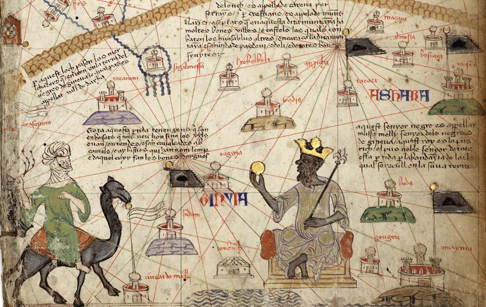 Maliko Inperioa, XIV. mendeko Afrikako mapa batean. Tronuan eserita dagoena Musa I.a (1280-1337) enperadorea da.