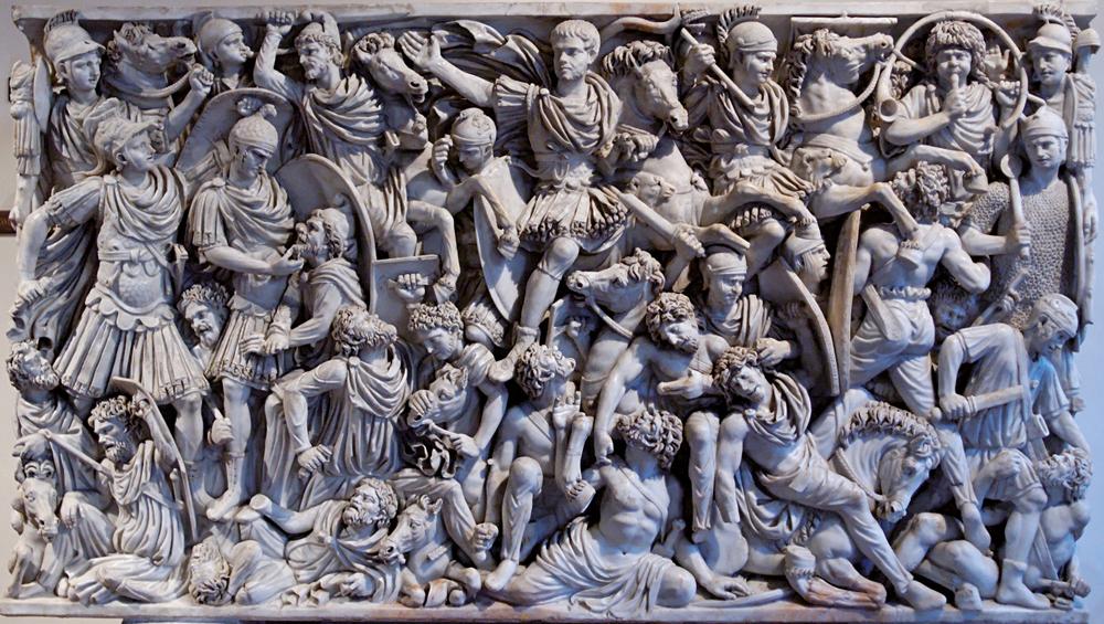 Erromatar legionarioak barbaroen kontra borrokan. Erliebe honek Grande Ludovisi izeneko sarkofagoaren erdiko panela osatzen du eta III. mendekoa da.