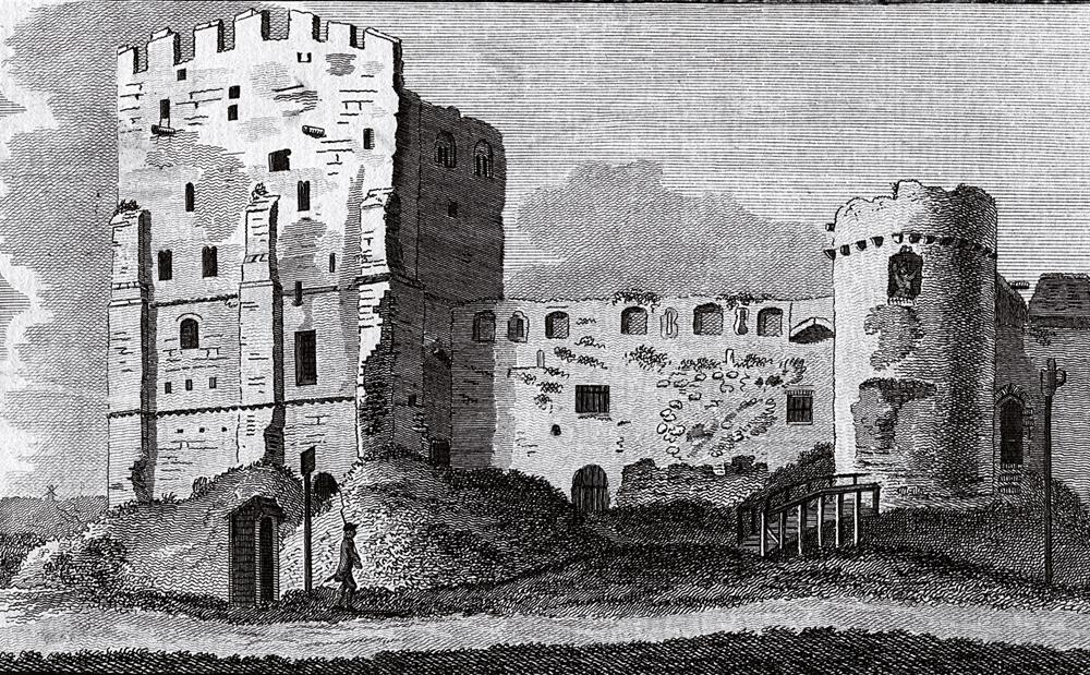 Portchester gotorlekua, Ingalaterrako kostaldean, 1786ko ilustrazio batean. Gotorlekua Dioklezianoren aginduz eraiki zuten, baina Marko Aurelio Karausiok, berehala, erromatarren aurka erabili zuen.