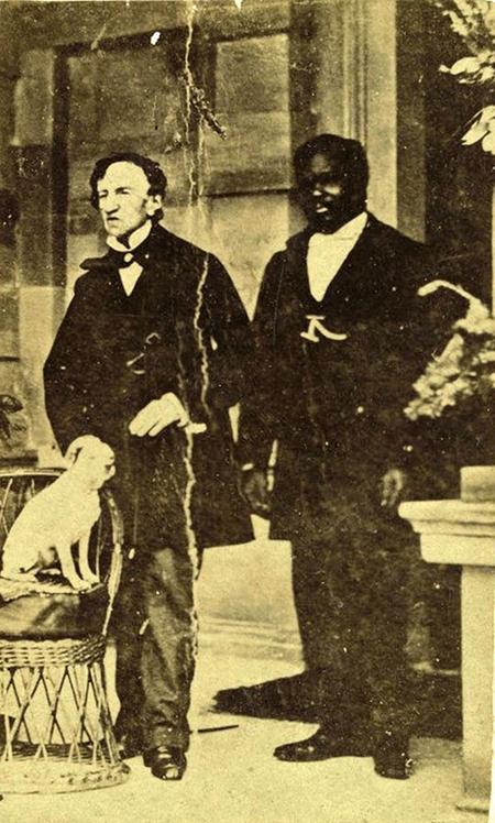 James Barry doktorea, John zerbitzariarekin eta Psyche txakurrarekin, Jamaikan, 1862. urte inguruan.
