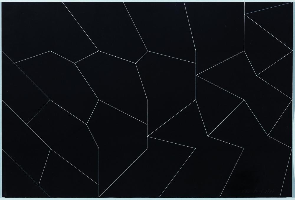 Izenbururik gabe (1977). Tinta zuria kartoi beltzean. 40 x 50 cm.