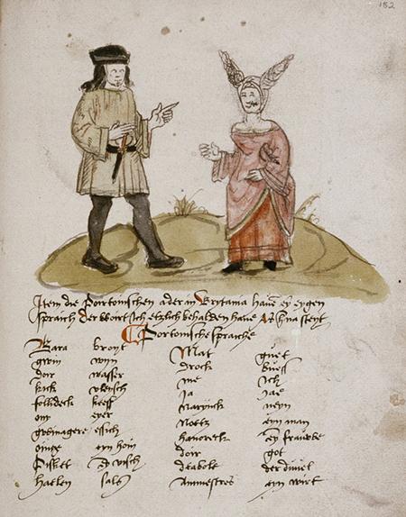Arnold Von Harff (1471-1505) renaniar erromesaren bidaia-liburuko orrialde bat. Bertan Nanteseko jantzi tipikoak daude jasota eta, irudiaren azpian, bretoierazko hiztegitxoa.