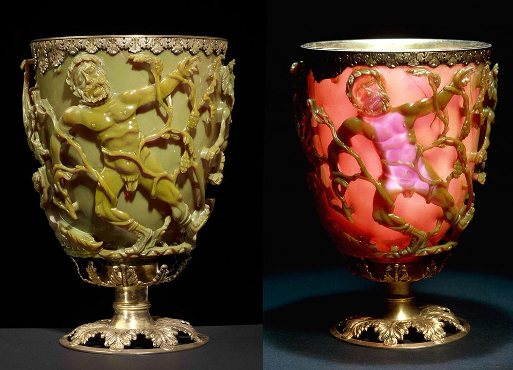 Likurgoren kopa Erromatar Inperioan egin zuten III. mendearen amaieran edo IV.aren hasieran. Beira dikroikoaren eraginez, argia aurrean duenean kopa berde ikusten da, eta atzean duenean, aldiz, gorri. (Arg: The British Museum)