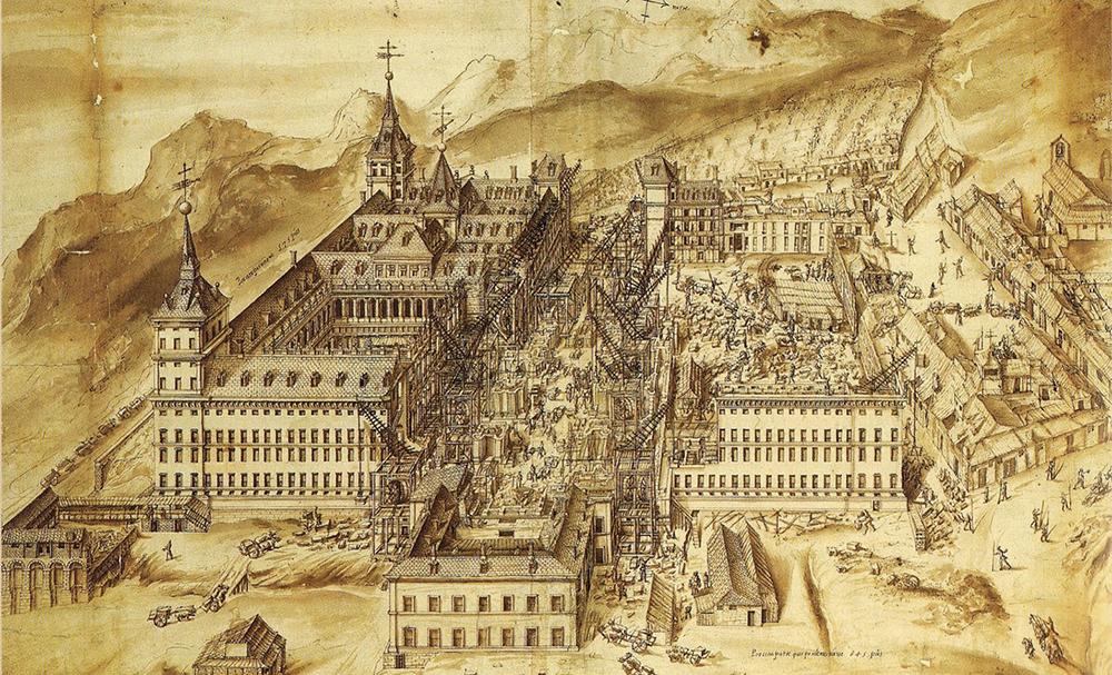 El Escorial monasterioa eraikitzeko lanak, Fabrizio Castello eta Rodrigo de Holandaren grabatuaren arabera. Lan horietan euskaldun asko aritu ziren, batez ere harginak.