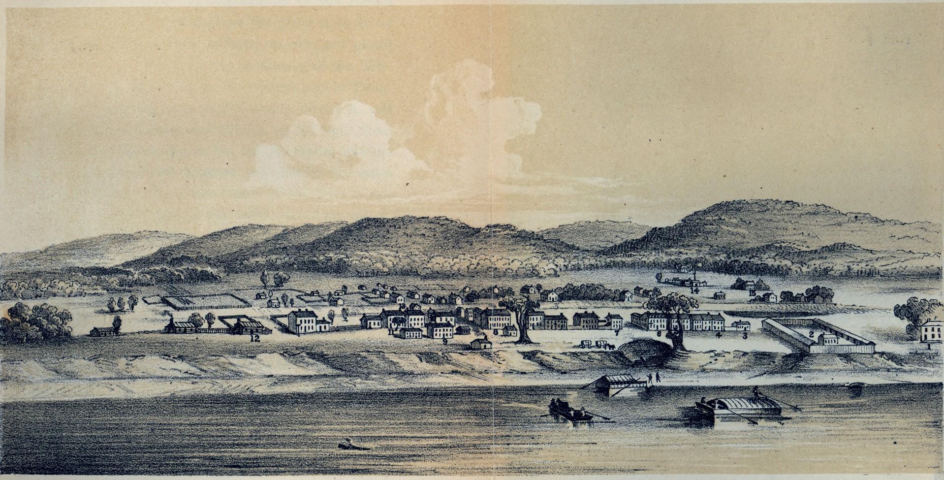 Cincinatti 1802an, herria beste izen batez (Losantiville) sortu eta 14 urtera. Mende erdi inguruan 150.000 biztanle izatera iritsiko zen. (Arg.: UC Libraries)