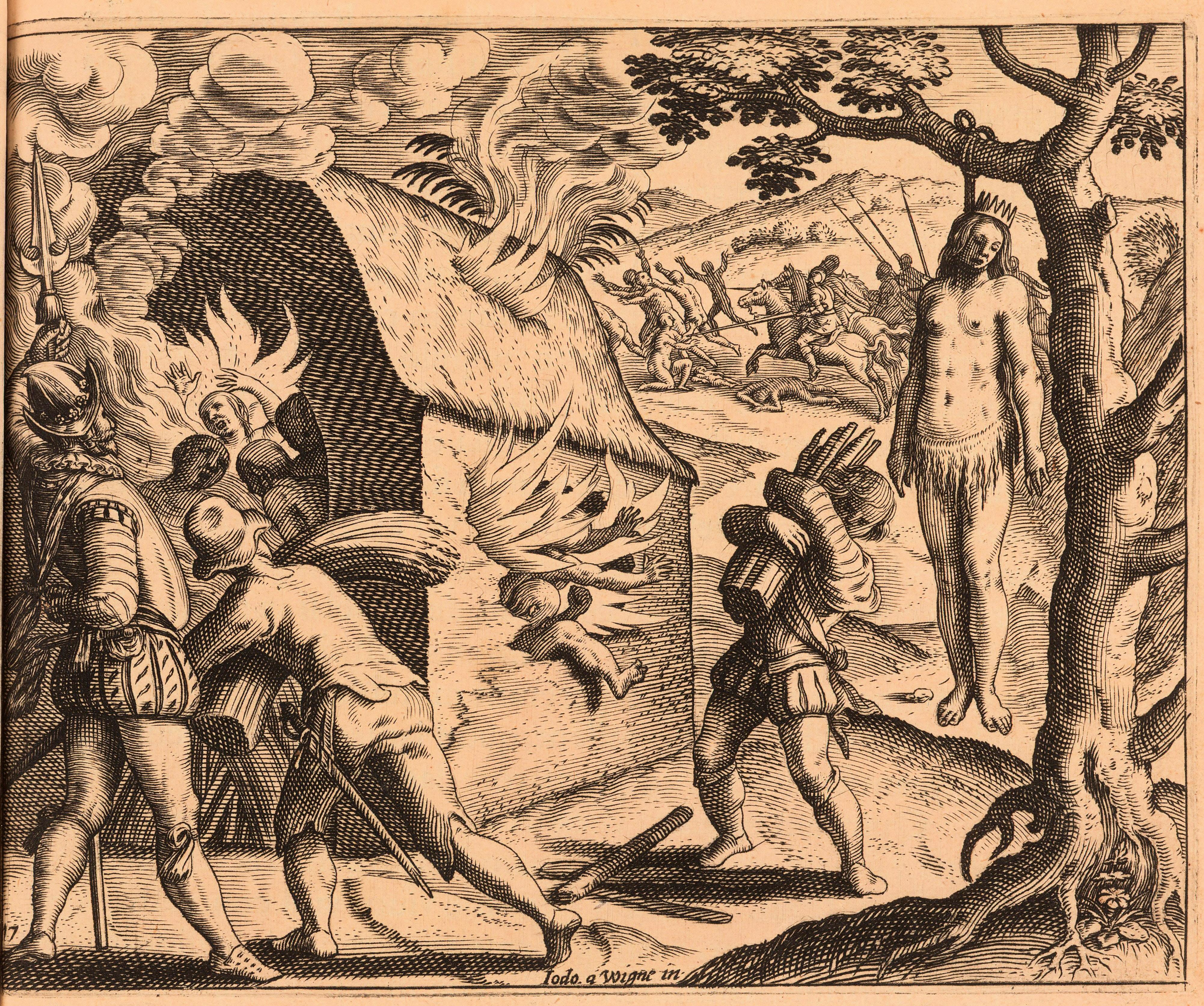 Jodocus van Winghe-ren 1598ko grabatua. 1503an konkistatzaileek Jaraguako Anacaona erregina, Higuemotaren ama, eta Hispaniola uharteko beste 80 buruzagi sarraskitu zituzten.