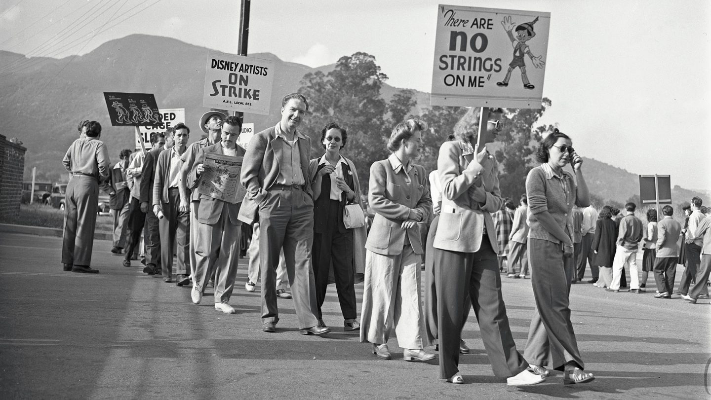 Disneyko grebalariak protestan, 1941eko udaberrian (arg: Los Angeles Times / Ucla Library)