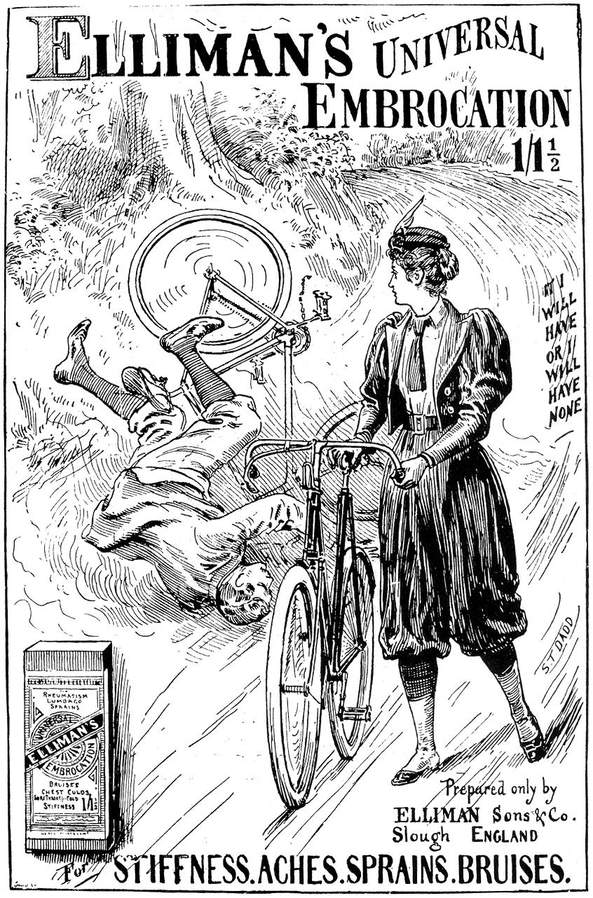 Elliman igurtziak egiteko ukenduaren 1897ko iragarkia, emakume txirrindulariekiko jarrera urte gutxitan nola aldatu zen erakusten duena. (Arg.: The Graphic)
