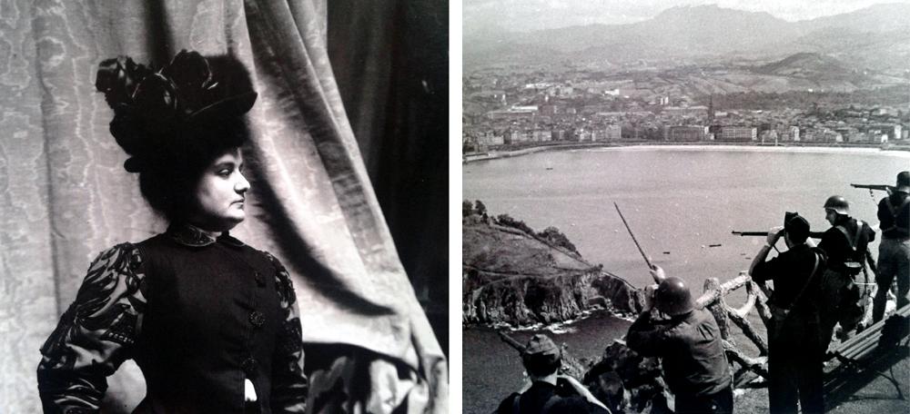 Teresa Amatller (ezkerrean), goi burgesia katalaneko beste hainbat kide bezala, frankistek hartutako Donostian babestu zen gerra garaian. Eskuinean, 1936ko irailean hiria faxisten esku geratu zenean. (arg: Cordon)