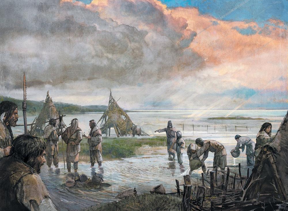 Doggerland duela 10.000 urte. Biltzaile-ehiztari taldea bizitokira itzuli eta urak hartu duela konturatzean. (arg: Alexander Maleev)