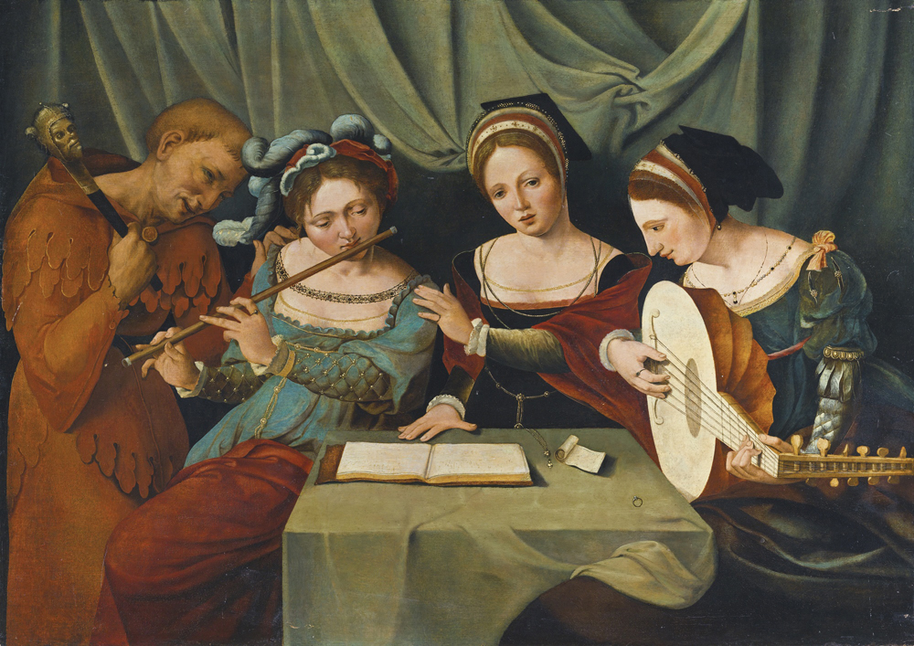 'Hiru emakume gazte musika egiten bufoi batekin', XVI. mendeko lan anonimoa