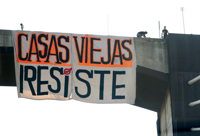 Casas Viejas hustu ostean, ekintzaileek egindako ekimena. (El Salto artxiboa)