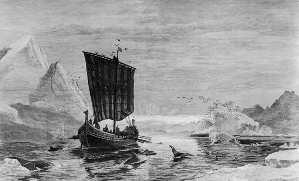 Erik Gorriaren ontzia Groenlandia deituko zion uhartera iristen, 982. urtean. (arg.: Carl Rasmussen)