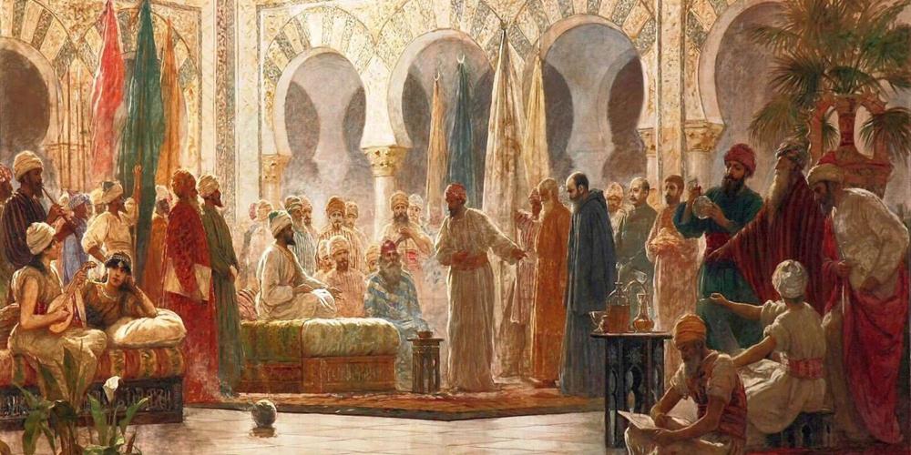 'Abd ar-rahman III.a eta bere gortea', Dionisio Baixeras, 1885. Kordobako lehen kalifaren birramona, amona eta ama baskoiak izan ziren.