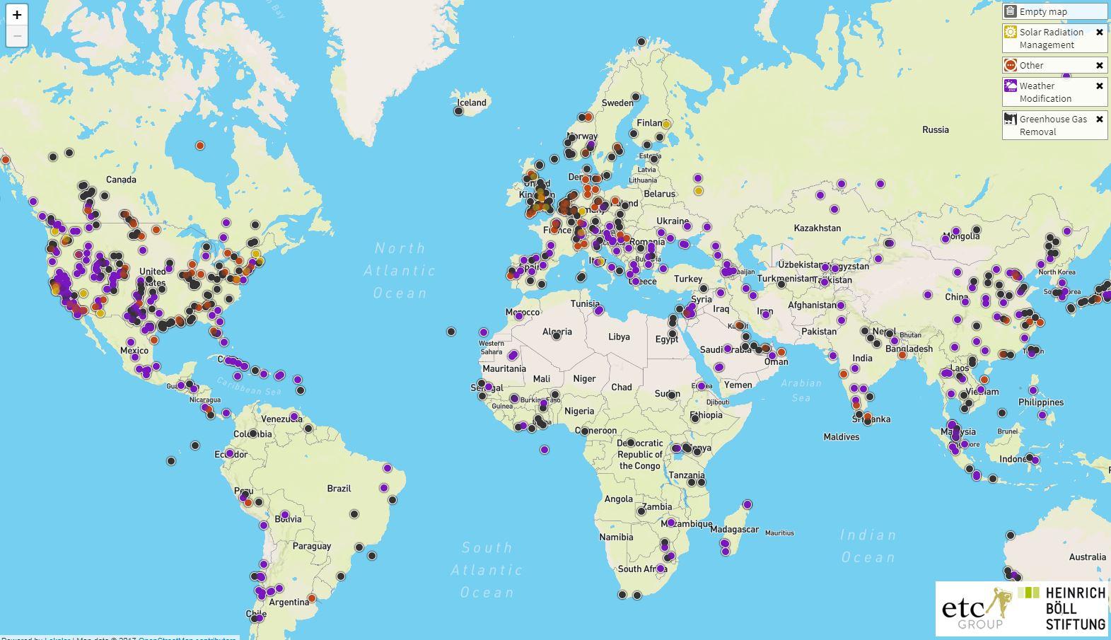 Esperimentuen mapa: klima aldatzeko geoingeniaritza probak munduan zehar. Tartean bada bat Euskal Herrian, txingorra kontrolatzeko.