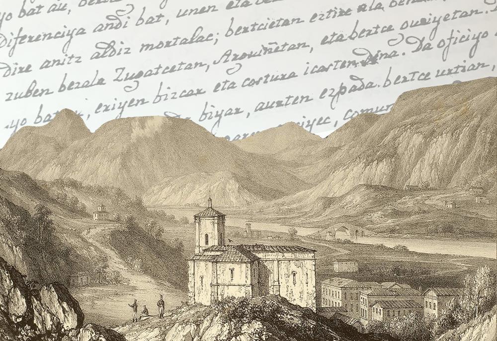 Bera. Edward Hawke Locker marrazkilari ingelesak 1813an eginiko grabatua. Eskuizkribua idatzi zenean, oraindik ere jasaten ari ziren Frantsesteak (1808-1814) eskualdean eragindako kalteak. (Irudia: ZM Museoa)