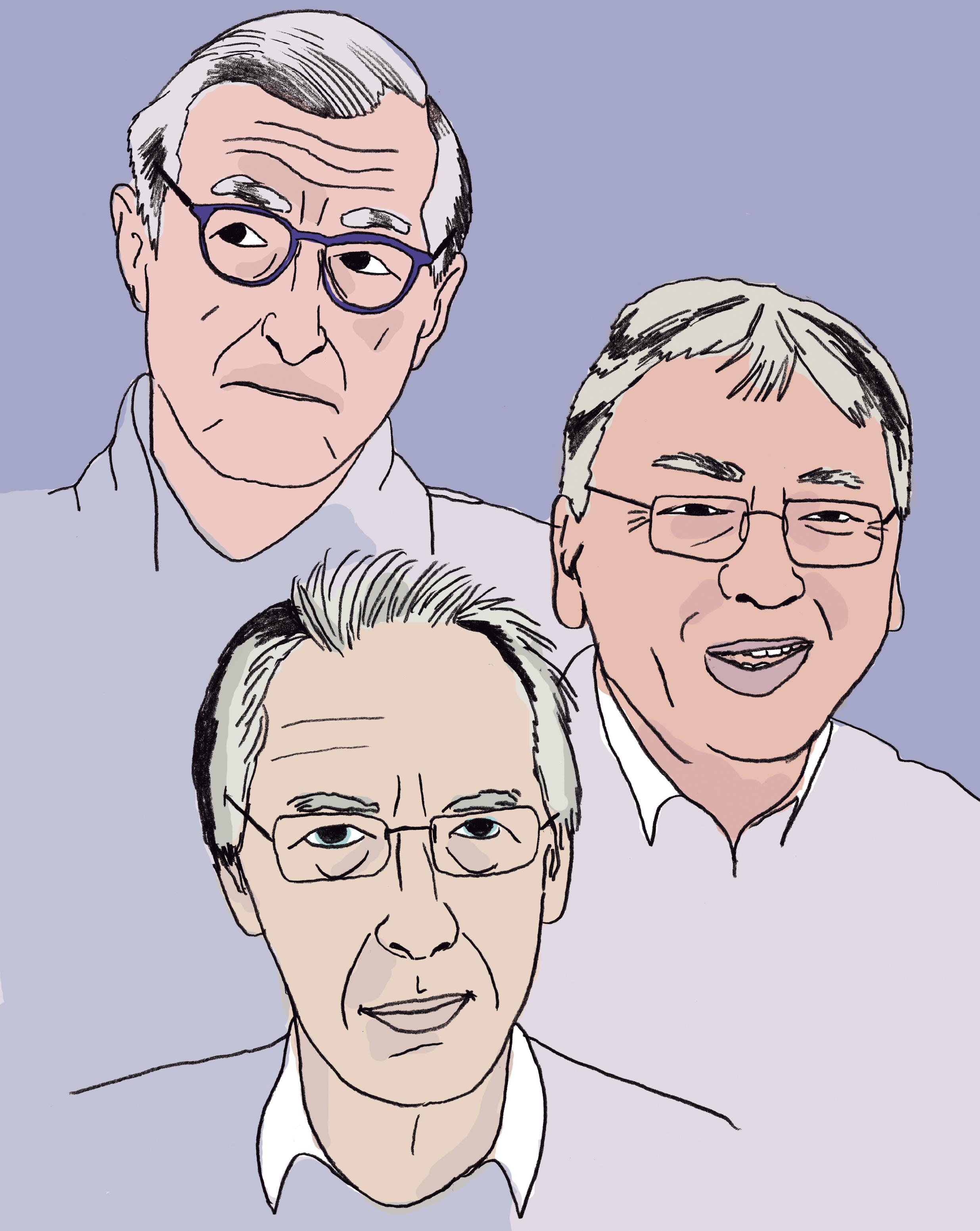 Julian Barnes, Kazuo Ishiguro eta Ian McEwan (ilustrazioa: Maitane Gartziandia).