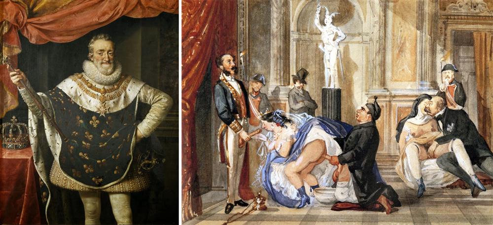 """Ezkerrean, Henrike III.a Nafarroakoa eta IV.a Frantziakoa. Eskuinean,  """"Los Borbones en pelota"""" irudi sorta satirikoaren ale bat."""