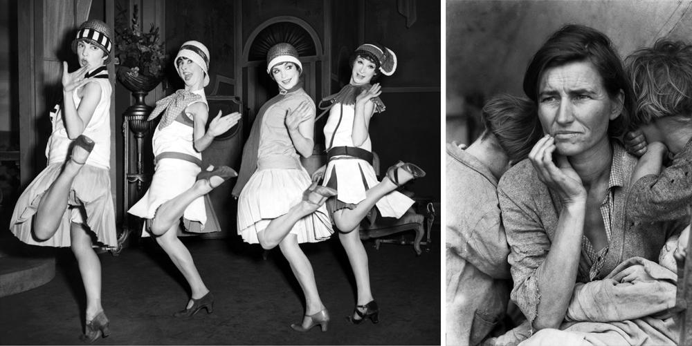 Ezkerrean, ilusioa: 1920ko hamarkadako emakume emantzipatu zoriontsuak. Eskuinean,  errealitatea: Dorothea Lange-ren argazki ezaguna, hamarkada amaierako krisiaren sinbolo. (arg: G.G. Bain Collection / Oakland Museum)