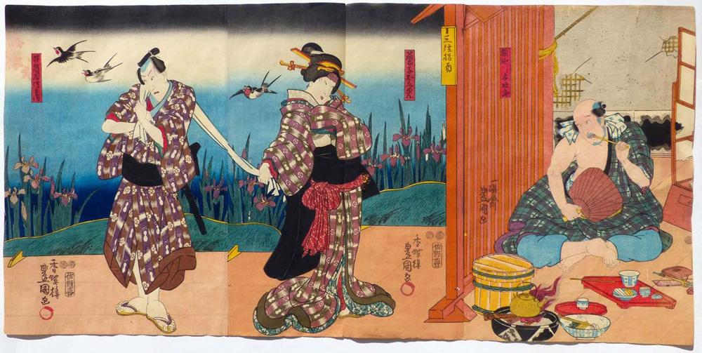 1850 urte inguruko grabatua, kabukiko aktoreak irudikatzen dituena, guztiak gizonezkoak –erdikoa ere bai–. (arg. Utagawa Kunisada)