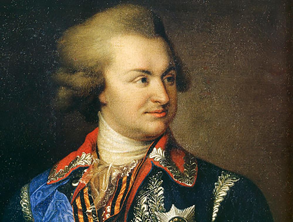 """Grigori Potemkin (1739-1791) Errusiar militar eta politikaria. Abizena nagusiki Potemkin korazatua (1925) filmarekin eta errusiar iraultzarekin lotu arren, """"potemkin herria"""" esamoldeak jatorri bera du. (arg.: Johann Baptist von Lampi)"""