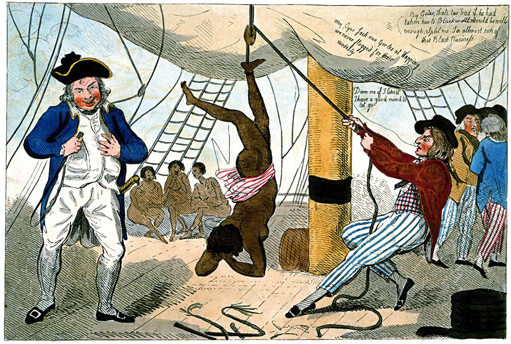 Ingeles karikatura. Abolizionista ingelesek 1792an egindako irudian, neskatila beltza torturatzen ikus liteke itsasontzi bateko kapitaina.