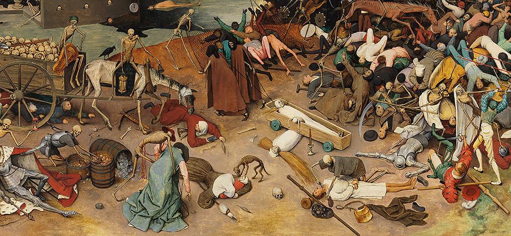Pieter Bruegel Zaharraren 'Heriotzaren garaipena' (1562) lanaren zati bat.
