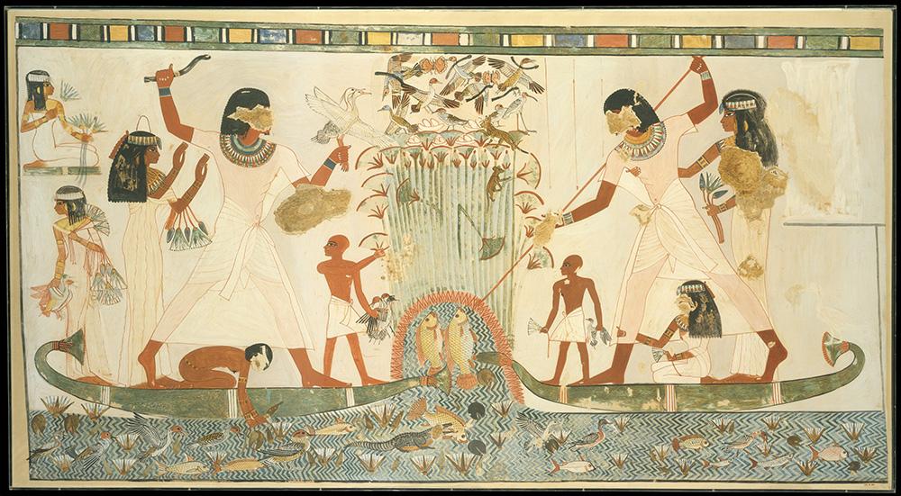 Narmer faraoiaren tenpluko margolan baten faksimila, faraoia eta bere familia Nilo ibaiak ematen duena biltzen erakusten duena. (arg.: Nina de Garis Davies)
