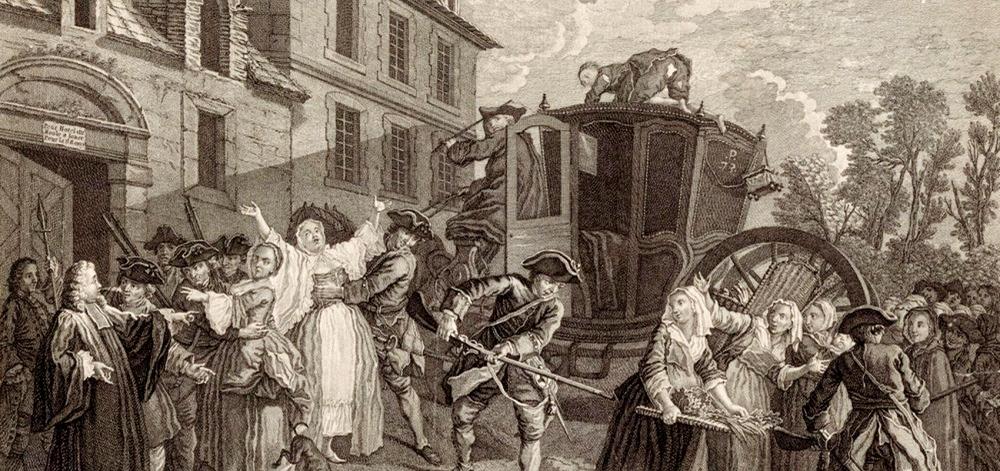 'Poliziaren atxiloketa' (1757), Jeanrat-ek egina eta J.C. Duflos-ek grabatua. (Archives Nationales)