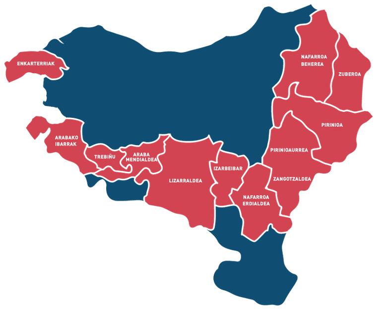 Gaindegiak Udalbiltzarentzat egindako mapa. Gorriz despopulazioa, langabezia edo zerbitzu irisgarritasun arazoak dituzten zonaldeak.