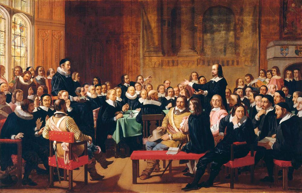 Westminsterreko Batzarra 1944an. Bertako teologo puritanoek eta Ingalaterrako parlamentuak bultzatu zuten Eguberriaren debekua. (John Rogers Herbert)