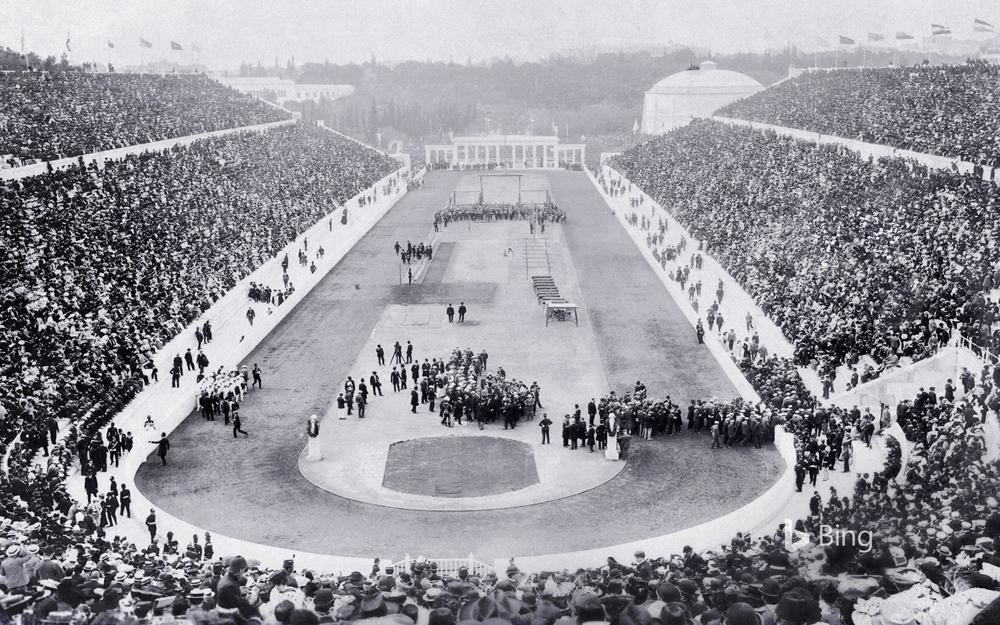 Lehen Joko Olinpiko modernoen inaugurazio ekitaldia Atenasko Panathinaiko estadioan, duela 125 urte.